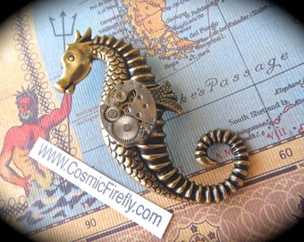 Seahorse Brooch Nautical Brooch Steampunk Pin Tiny Vintage Watch Movement Antiqued Brass Gold Gothic Victorian Brooch Inspired Art Jewelry