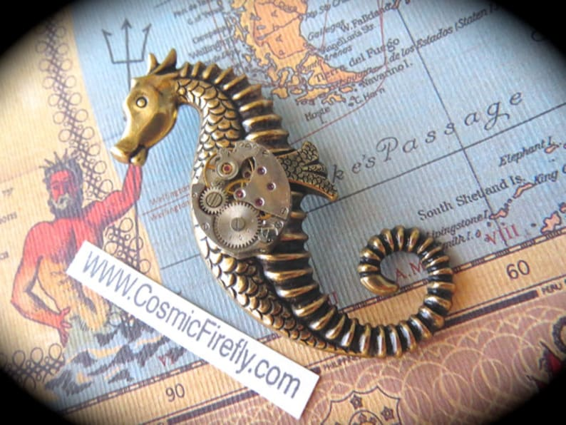 Seahorse Brooch Nautical Brooch Steampunk Pin Tiny Vintage image 0