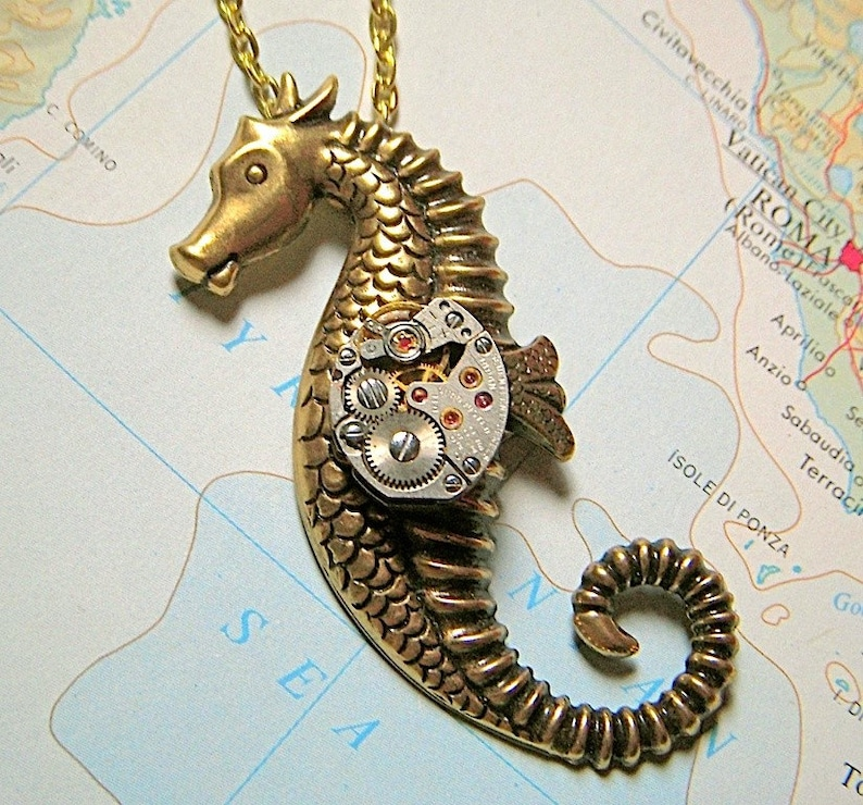 Antiqued brass nautiacal steampunk seahorse necklace perfect image 0