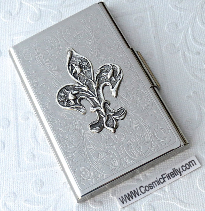 Fleur De Lis Business Card Case Gothic Victorian Steampunk image 0