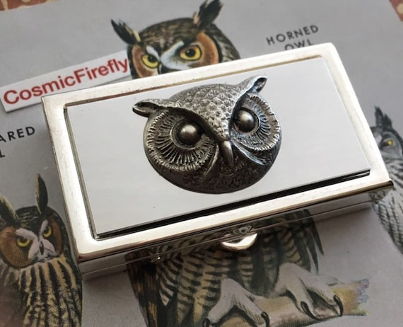 Very Small Silver Plated Owl Pill Case Gothic Victorian Small Pill Case for Pocket or Purse