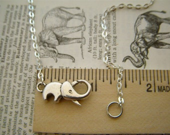 Tiny Lucky Elephant Necklace Plated Silver Tone Metal Fashion Jewelry Clasp Trunk Up For Good Luck Novelty Costume Jewelry FREE Gift Box