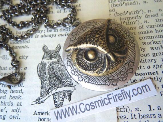 Round Owl Locket Necklace Woodland Vintage Inspired