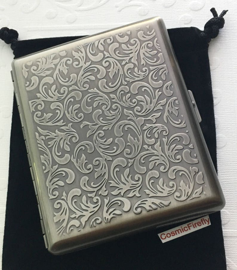 Large Size Metal Cigarette Case Extra Big Antiqued Pewter Gray image 0