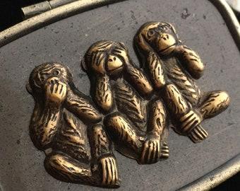 Small Brass Monkeys Pill Box Pill Case Glass Mirror Speak No Evil