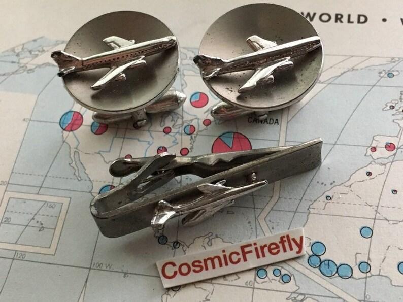Mid Century Vintage Cufflinks Jet Airplane Cufflinks Jet Plane image 0