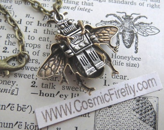 Steampunk Necklace Robot Bee Necklace Silver Robot Necklace BEEBOT Original Design By Cosmic Firefly Reversible Double Sided