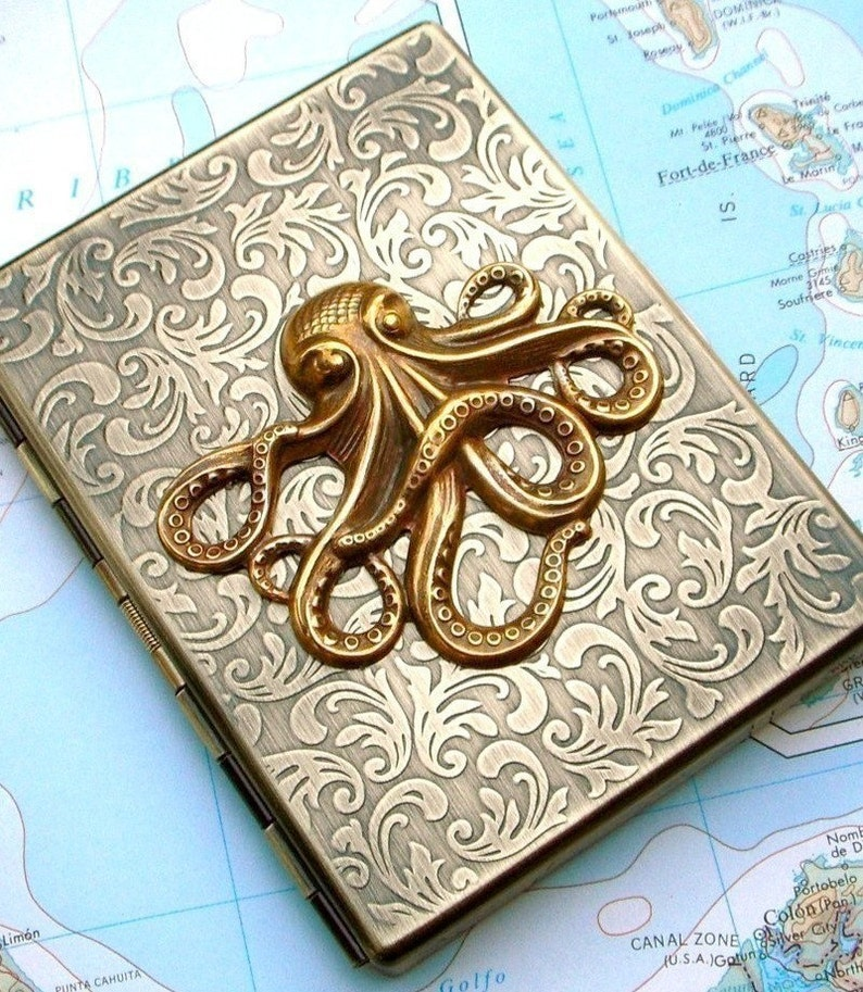 Metal Cigarette Case Brass Octopus Cigarette Case Nautical image 0