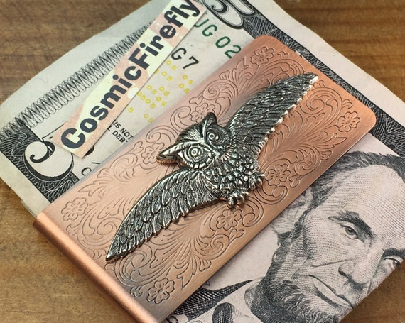 Flying Owl Money Clip Copper Money Clip Silver Owl Men's Steampunk Money Clip Victorian Money Clip Gifts For Men Father's Day Wizard Gift