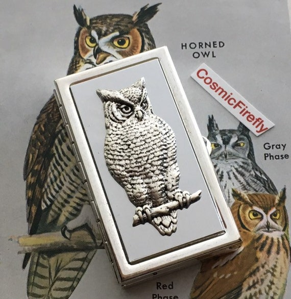 Silver Owl Pill Box Vintage Inspired Gothic Victorian Style Classic Tiny Size Small Pill Case