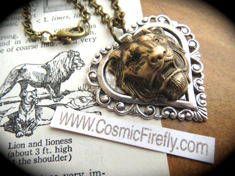 Lion Necklace Antiqued Silver Heart & Brass Lion Head Gothic image 0