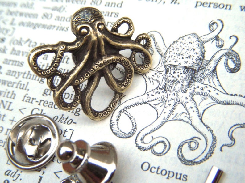 Brass Octopus Tie Tack Lapel Pin Gothic Victorian Nautical image 0