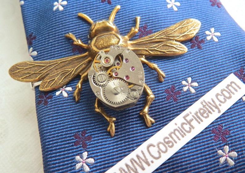 Men's Steampunk Tie Clip Brass Bee Tie Clip Vintage Watch image 0