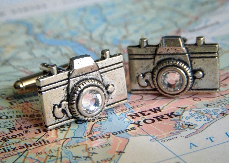 Camera Cufflinks Fancy Men's Cufflinks Swarovski Crystal image 0