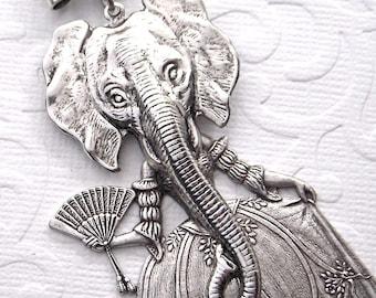 Elephant Necklace Gothic Victorian Sideshow Carnival Freak Girls Dark Circus Elephant Girl Original Design by Cosmic Firefly