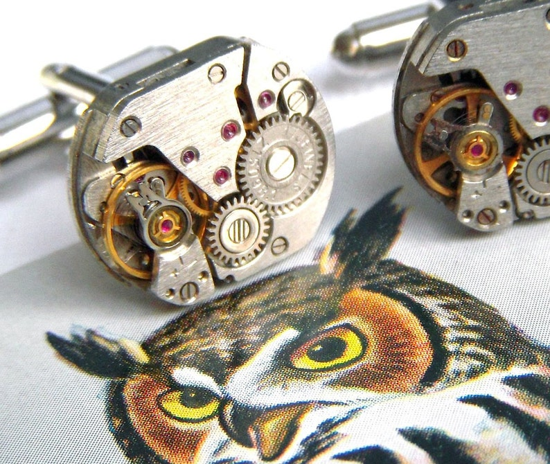 Men's Steampunk Cufflinks Upcycled Watch Movement image 0