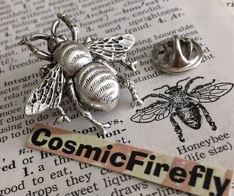 Silver Tie Tack Bee Tie Tack Big Bumble Bee Pin Men's image 0