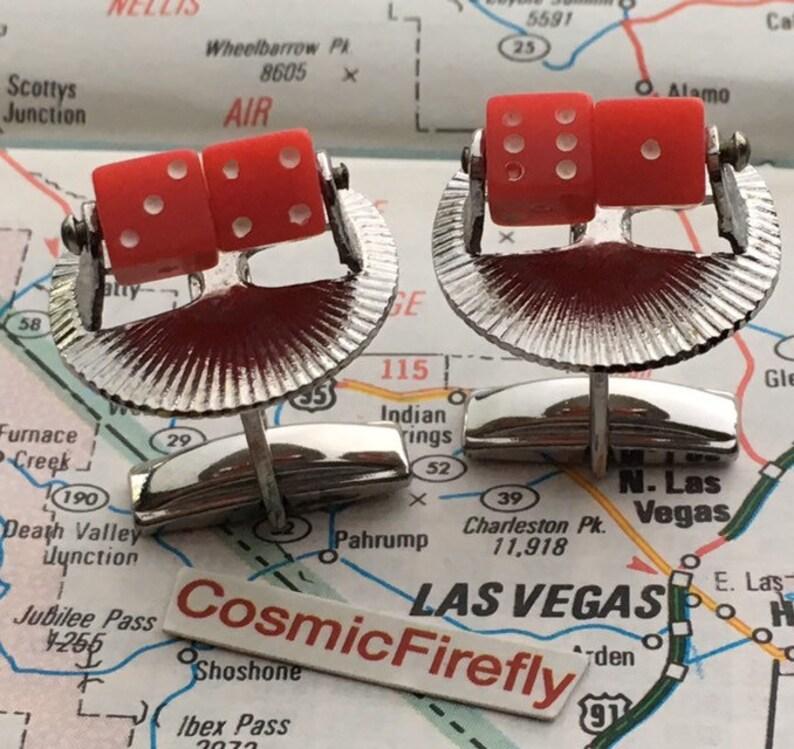 Real Moving Dice Vintage Cufflinks Las Vegas Cufflinks image 0
