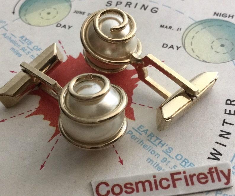 Vintage Atomic Cufflinks Brass Spiral Faux Pearl 1950's image 0