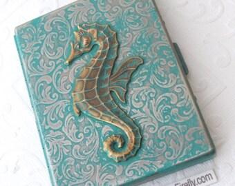 Verdigris Seahorse Cigarette Case Gothic Victorian Verdigris Green Seahorse Antiqued Finish Nautical Victorian Steampunk Art Nouveau Floral
