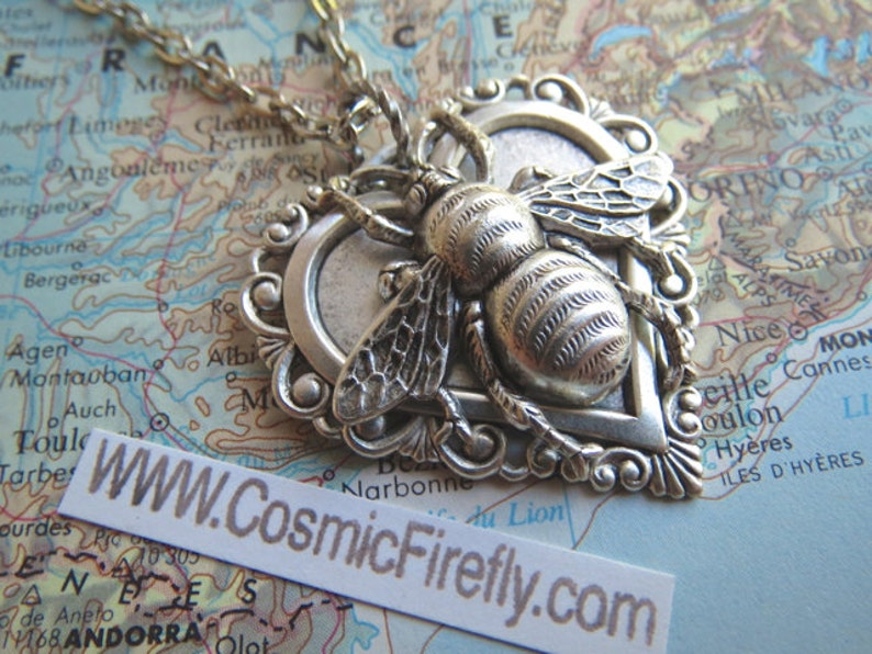 Silver Bee Necklace Gothic Victorian Antiqued Metal Heart image 0