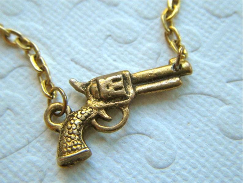 Tiny Gold Gun Necklace Antiqued Finish Petite Size Goldtone image 0