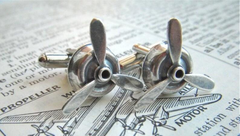Men's Steampunk Cufflinks Propeller Cufflinks Antiqued image 0