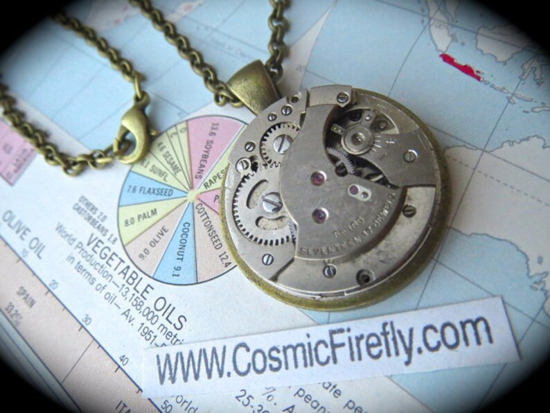 Steampunk Necklace Pendant With Round Antique Swiss Non image 0