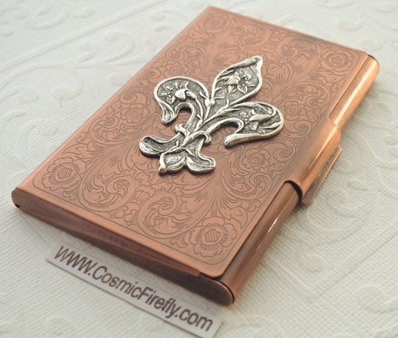 on sale edafa 29338 Copper Business Card Case Silver Fleur De Lis Steampunk Card Case Card  Holder Gothic Victorian Style Card Case New Handcrafted Card Case