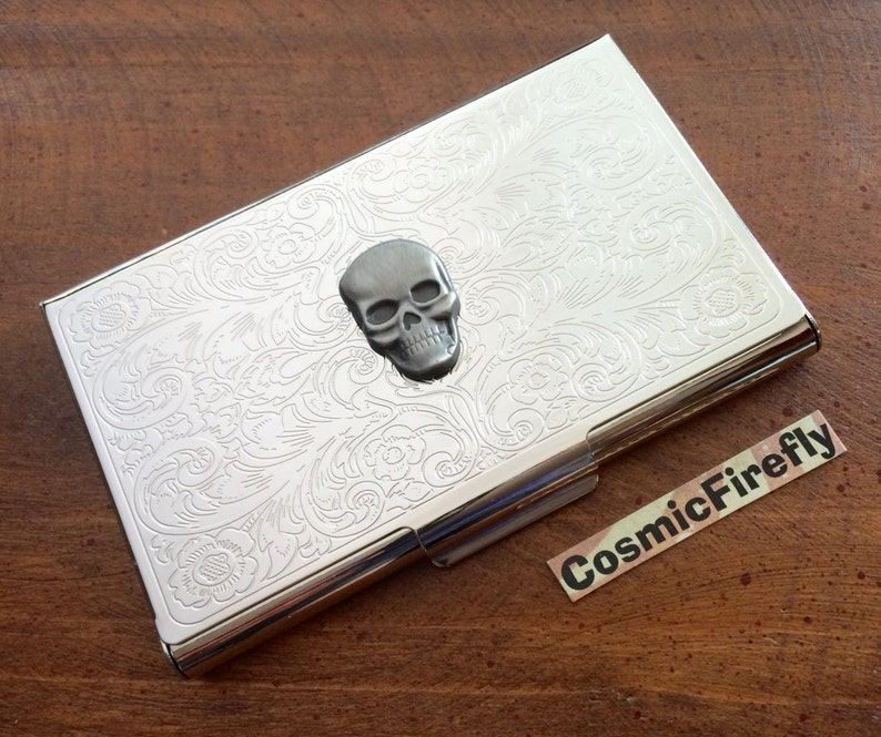 Business Card Case Metal Skull Vintage Inspired Gothic image 0