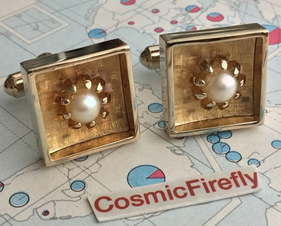 Vintage 1950's Modernist Cufflinks Square With Pea