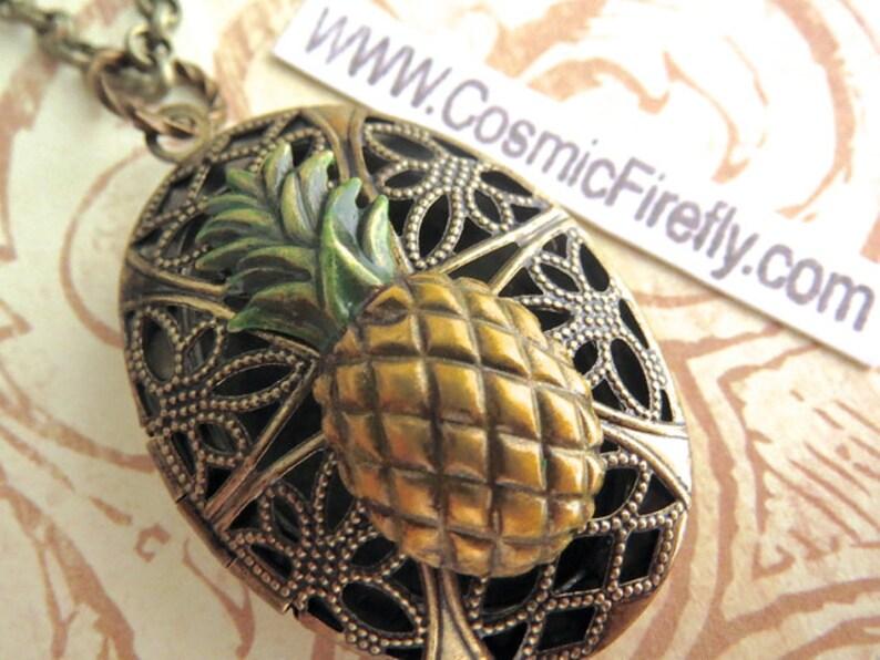Antiqued Brass Pineapple Locket Necklace Vintage Inspired Filigree Handpainted Color Oval Locket Steampunk Necklace Tiki Locket Tiki Necklac