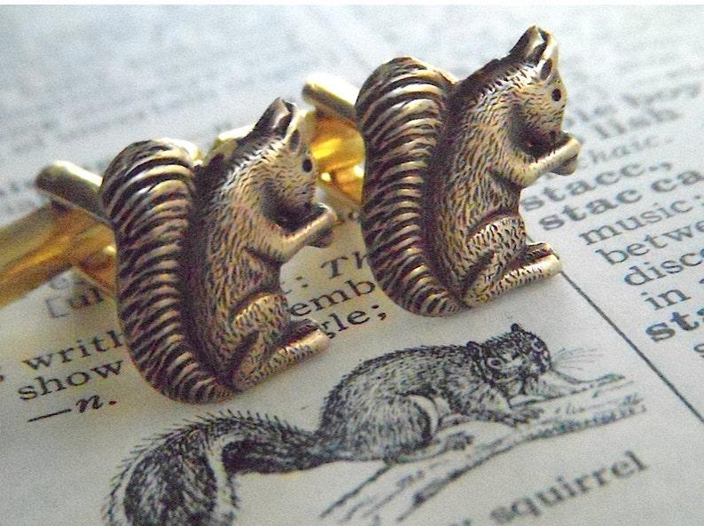 Men's Cufflinks Brass Squirrels Vintage Inspired Style image 0