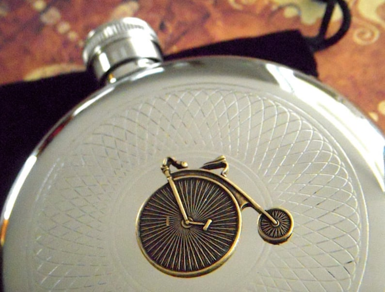 Steampunk Flask Round Penny Farthing Gothic Victorian Vintage image 0