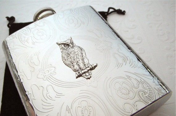 Big Owl Flask Vintage Inspired Stainless Steel 8 oz Gothic Victorian Woodland Flask Steampunk Flask Women's Gifts