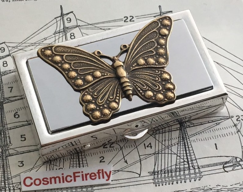 Butterfly Pill Box Small Size Silver Tone Metal Pill Case image 0
