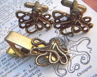 Octopus Cufflinks Set With Tie Clip Rustic Antiqued Brass Finish Gothic Victorian Nautical Steampunk Style Vintage Inspired