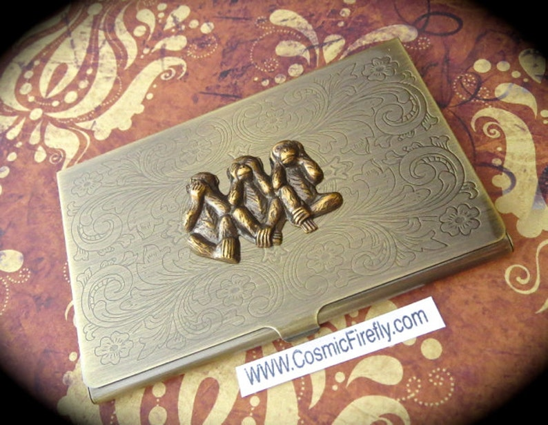 Brass Monkey Business Card Case Antiqued Brass Card Case image 0