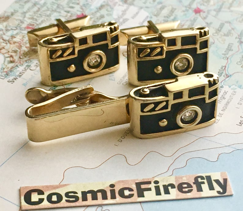 Mid Century Vintage Cufflinks Antique Camera Cufflinks Made In image 0