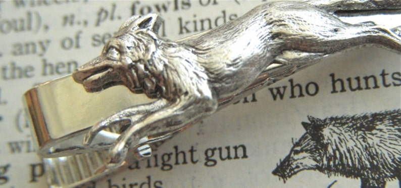 Antiqued Silver Fox Tie Clip Vintage Inspired Reproduction image 0