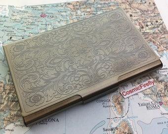 Card Holder Antiqued Brass Bronze Business Card Case Victorian Steampunk Card Holder Metal Card      Wallet
