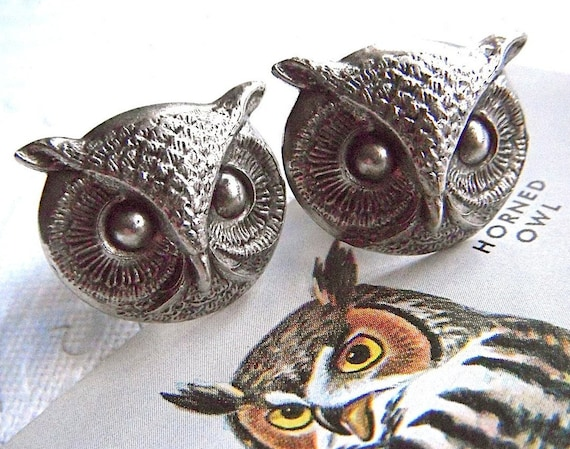 Big Owl Cufflinks Gothic Victorian BIG & Bold Large Size Antiqued Silver Plated Vintage Style Men's Cuff Links Father's Day Gifts
