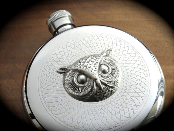 Round Owl Flask Silver Flask Round Flask Gothic Victorian Flask Steampunk Flask Vintage Inspired Reproduction