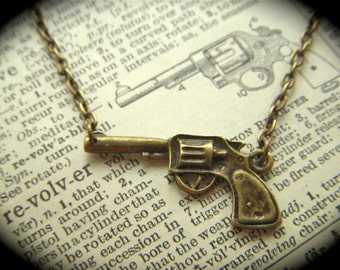 Steampunk Gun Necklace Antiqued Brass Rustic Finish Wild West Revolver Small Petite Size Fashion Necklace