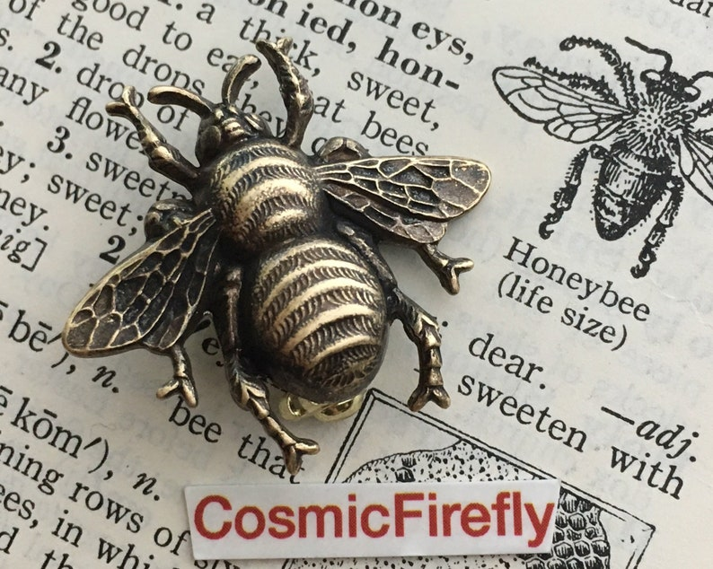Antiqued Brass Bee Pin Big Bumble Bee Brooch Gothic Victorian image 0