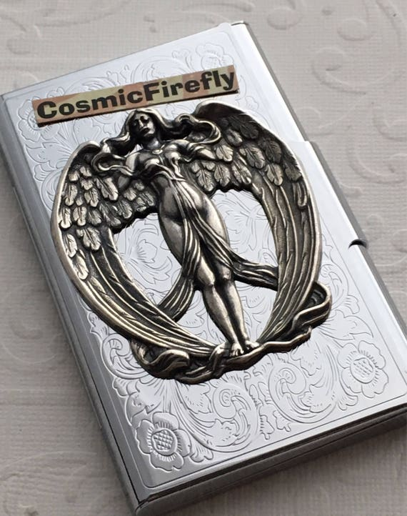 Shiny silver plated angel business card case steampunk card etsy image 0 colourmoves
