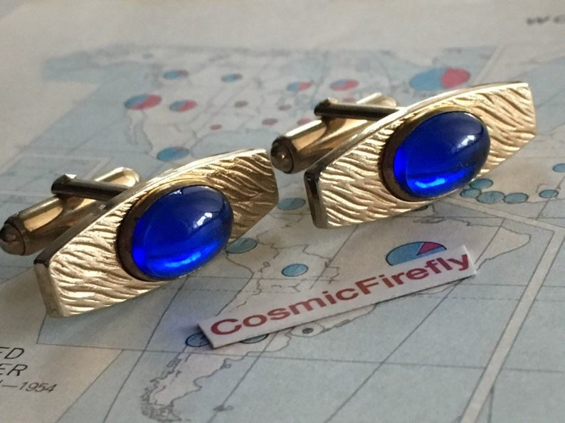 Mid Century Vintage Cufflinks Blue Glass Cufflinks Something image 0