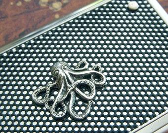 Octopus Business Card Case Baby Octopus Silver Octopus Case Steampunk Card Case Industrial Design Card Case Fancy Card Case Cosmic Firefly