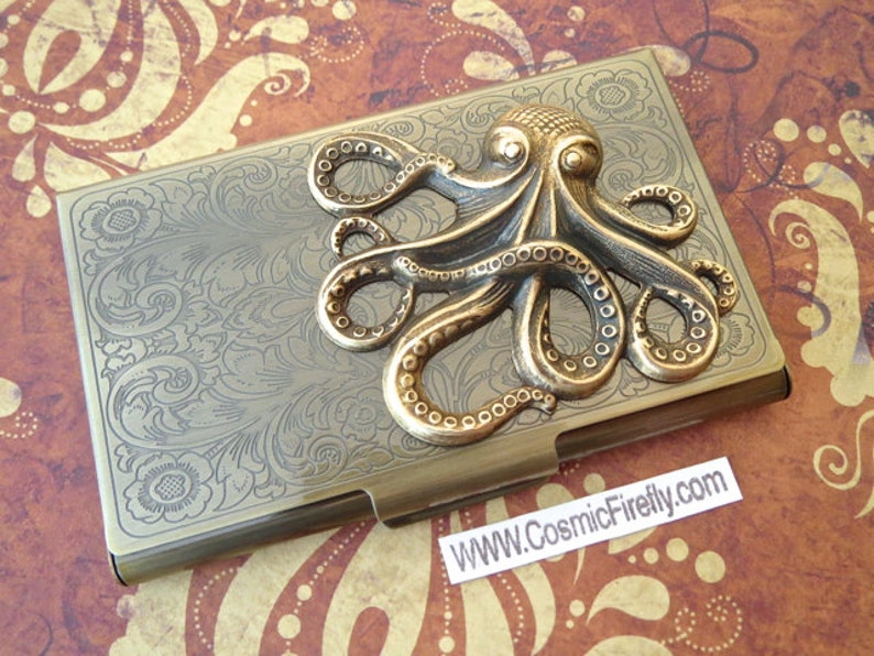 Brass Octopus Card Case Steampunk Business Card Case Vintage image 0