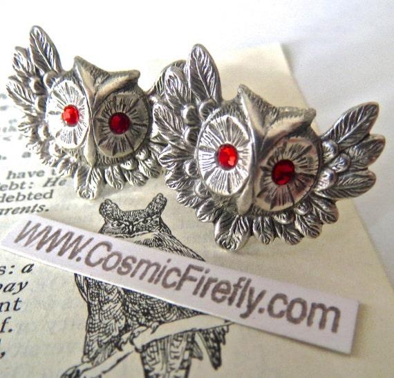 Owl Cufflinks Red Ruby Color Swarovski Elements Crystal Eyes Gothic Victorian Antiqued Silver Cufflinks Men's Cufflinks Red Eyes Handcrafted